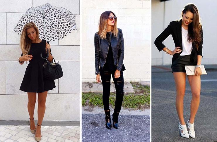 3 διαφορετικοί τρόποι για να φορέσετε μαύρο φόρεμα, τζην ή σορτς (1)