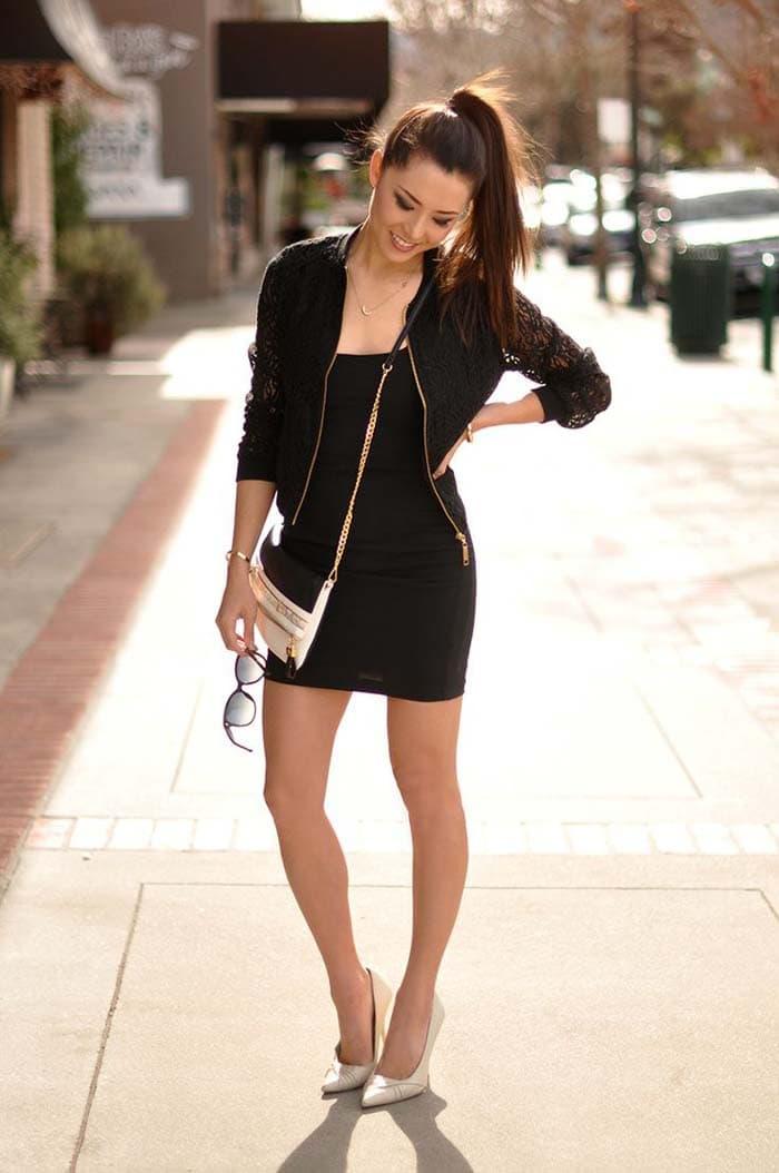 3 διαφορετικοί τρόποι για να φορέσετε μαύρο φόρεμα, τζην ή σορτς (4)