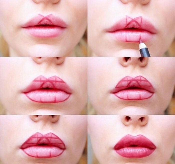 Απλό τρικ για τέλειο σχήμα κραγιόν στα χείλη (8)