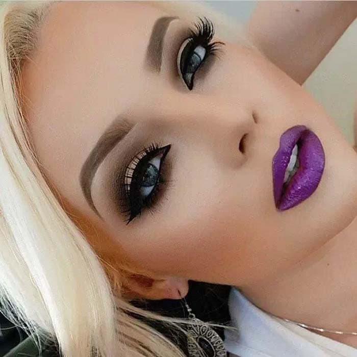 Μακιγιάζ με μωβ χείλη (5)