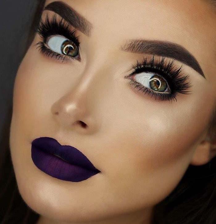 Μακιγιάζ με μωβ χείλη (9)