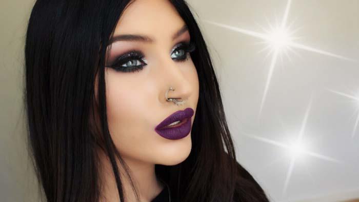 Μακιγιάζ με μωβ χείλη (16)
