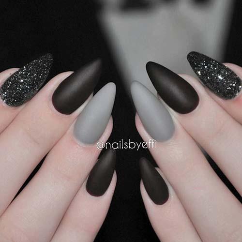 Μαύρα - γκρι νύχια (11)