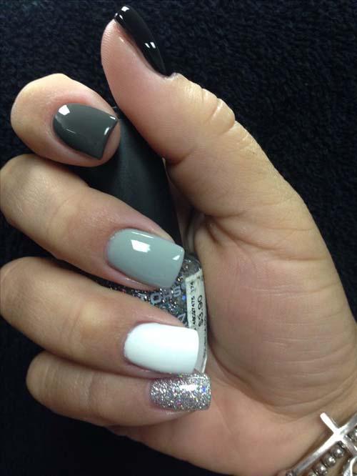 Μαύρα - γκρι νύχια (19)