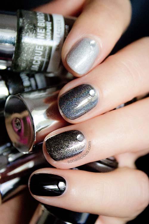 Μαύρα - γκρι νύχια (23)