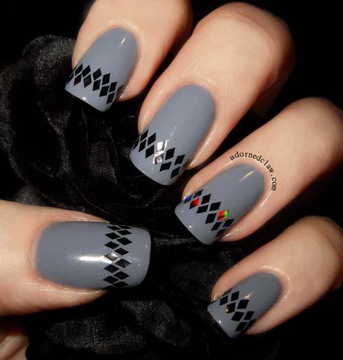 Μαύρα - γκρι νύχια (27)