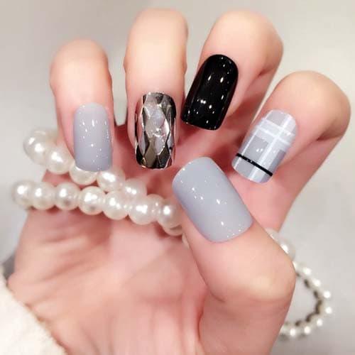 Μαύρα - γκρι νύχια (28)