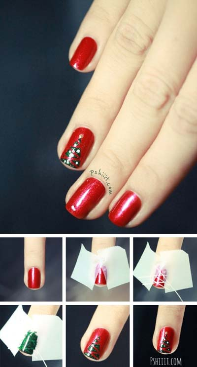 Nail art σχέδια για χριστουγεννιάτικα μανικιούρ στο σπίτι (11)