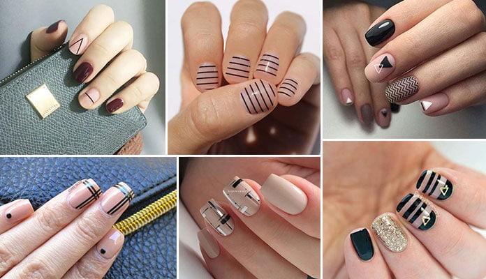 Nude νύχια με μαύρες γραμμές (1)