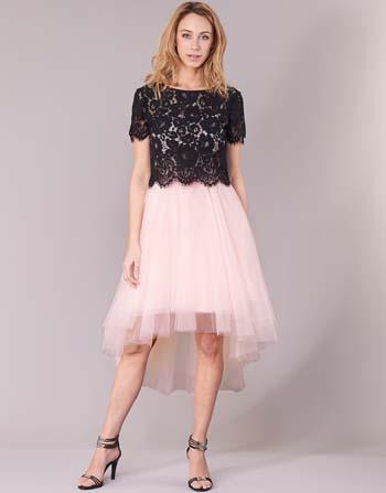 a322c87e6d9f ... Αμπιγιέ κοντό φόρεμα με δαντελένιο μαύρο μπούστο και τούλινη ροζ φούστα  – Derhy ...