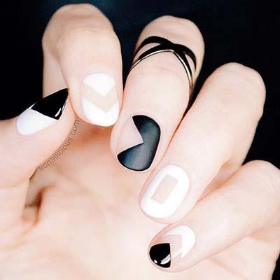 Ασπρόμαυρα σχέδια στα νύχια (9)