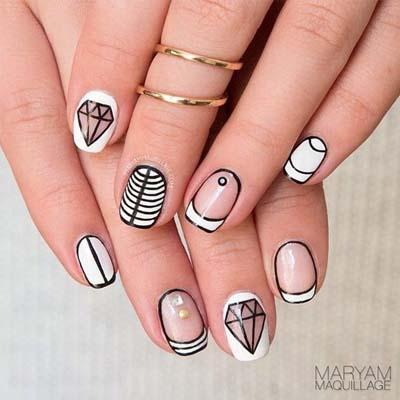 Ασπρόμαυρα σχέδια στα νύχια (45)