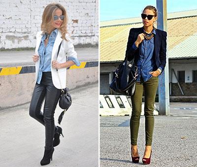 413e76c1ee2a Κομψά ντυσίματα με τζιν γυναικείο πουκάμισο και σακάκι