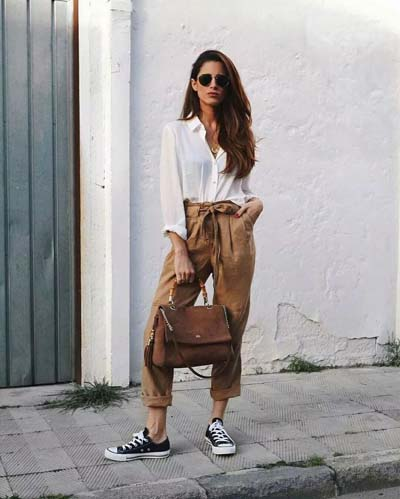 Street style και casual ντυσίματα με paper bag παντελόνι (2)