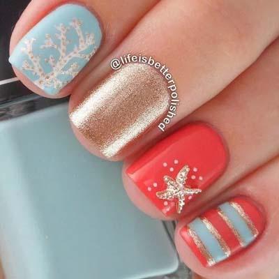 Καλοκαιρινά σχέδια στα νύχια με κοραλί μανό (5)