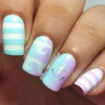Καλοκαιρινά νύχια με σχέδια από άγκυρες (3)