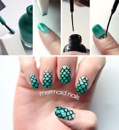 Γοργονέ νύχια - Mermaid nails (1)