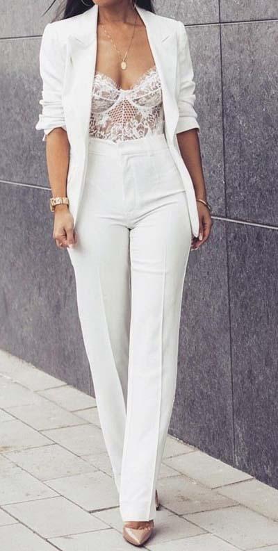 Συνδυασμοί για ντύσιμο με άσπρο σακάκι (50)