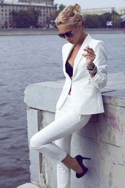 Συνδυασμοί για ντύσιμο με άσπρο σακάκι (51)