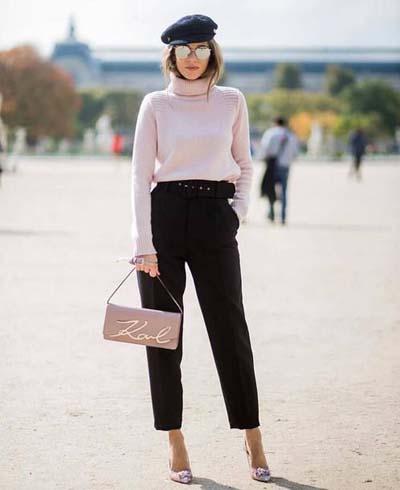 Casual chic ντύσιμο με ψηλόμεσο μαύρο παντελόνι