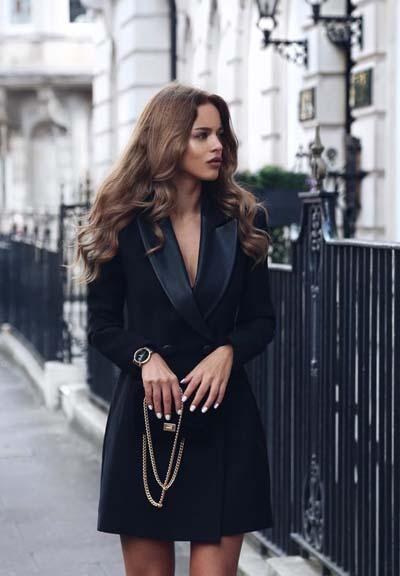 Κομψό ντύσιμο με μαύρο φόρεμα τύπου blazer