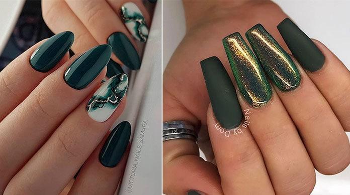 Πράσινα μανό για τα νύχια το Χειμώνα