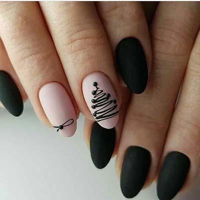 Nude - μαύρα νύχια με έλατο και φιόγκο για τα Χριστούγεννα