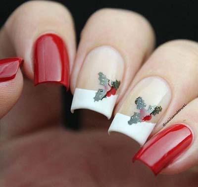 Κόκκινα νύχια με γαλλικό και σχέδια από γκι