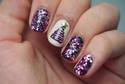 Μωβ χριστουγεννιάτικο μανικιούρ με glitter