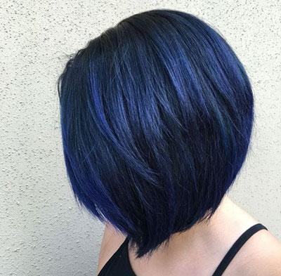Blue black balayage σε κοντό καρέ