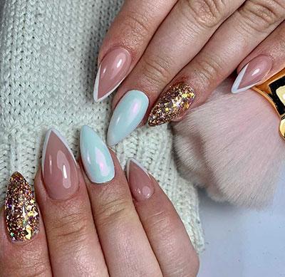 Νύχια γαλλικό σε κοντά stiletto nails