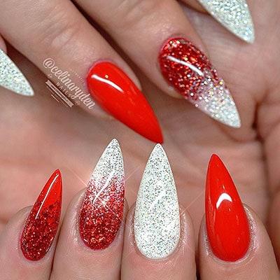 Νύχια στιλέτο σε κόκκινο και άσπρο χρώμα
