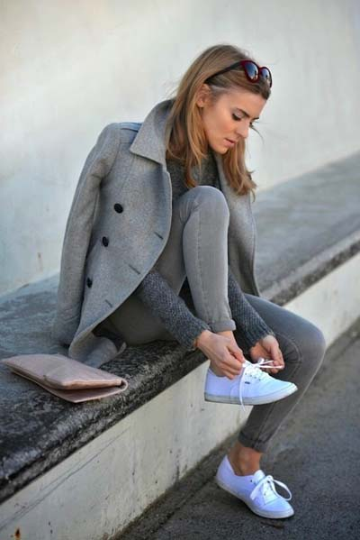 Total grey sport chic outfit με ημίπαλτο