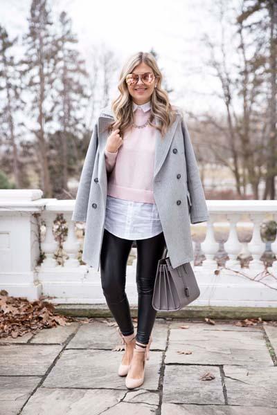 Ντύσιμο με κοντό γκρι παλτό και δερμάτινο παντελόνι
