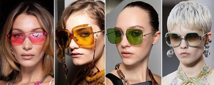Ροζ, κίτρινοι, πράσινοι, gradient και φακοί καθρέφτης στα γυαλιά ηλίου για τη σεζόν Άνοιξη / Καλοκαίρι 2020