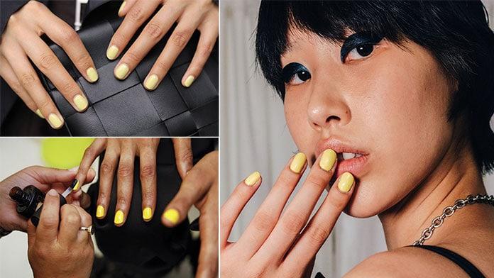 Νύχια σε κίτρινο χρώμα