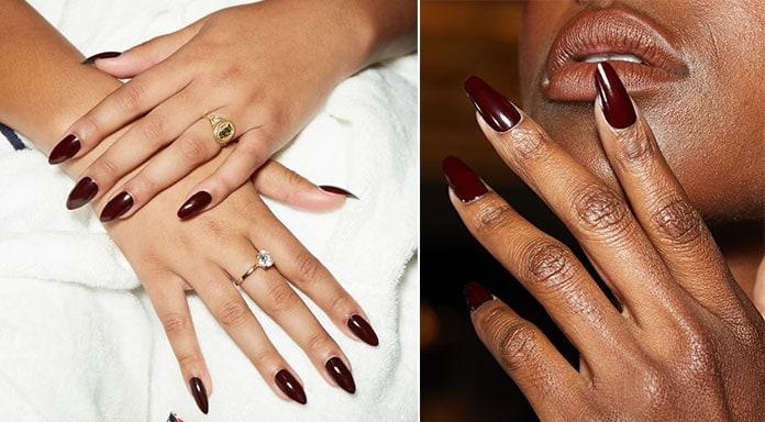 Μπορντό νύχια στο χρώμα του κρασιού