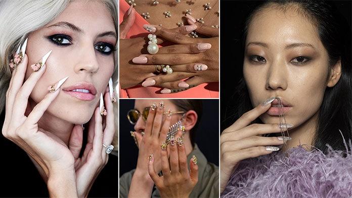 Νύχια διακοσμημένα με πέρλες, κρεμαστά και άλλα τρισδιάστατα αξεσουάρ