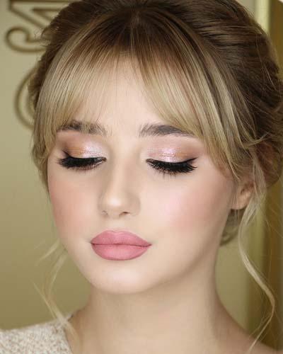Απαλό σαμπανιζέ bridal makeup για ξανθιές
