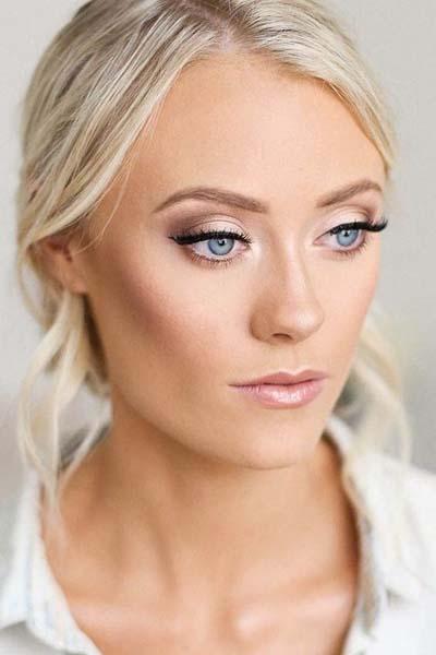 Ρομαντικό bridal makeup για γαλάζια μάτια και ξανθά μαλλιά
