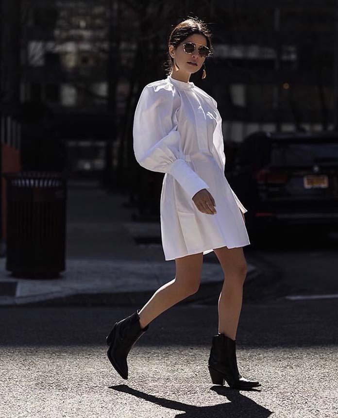 Μίνι λευκό φόρεμα με ογκώδη μανίκια