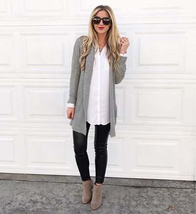 Μαύρο δερμάτινο κολάν με άσπρο μακρύ πουκάμισο και γκρι ζακέτα