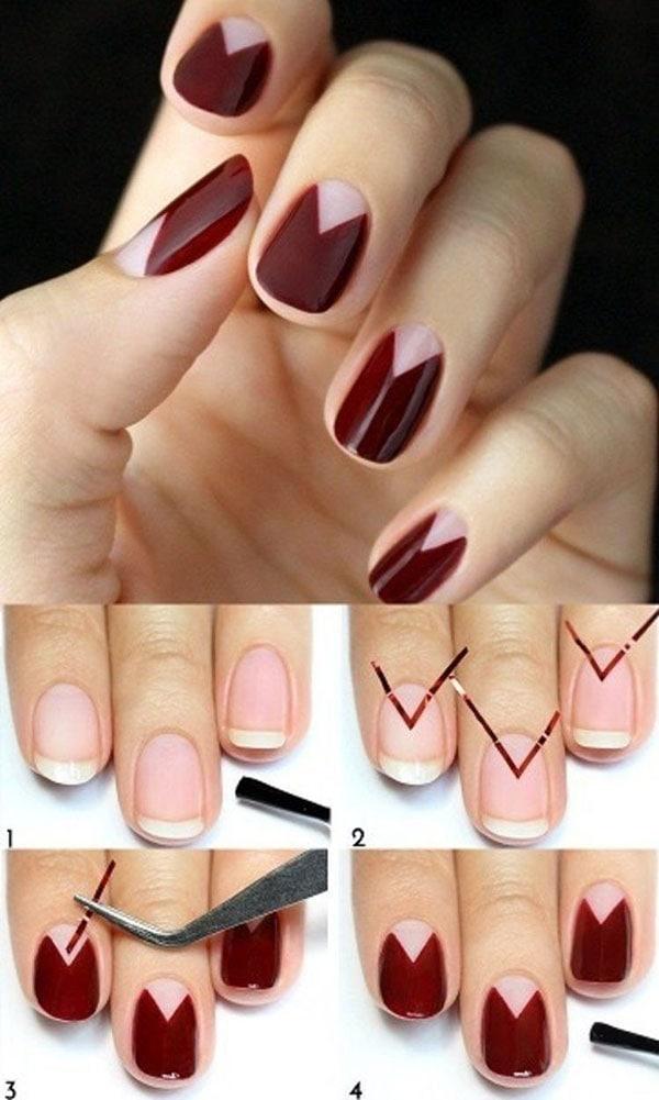 Half moon nails με τριγωνικό σχήμα στη βάση