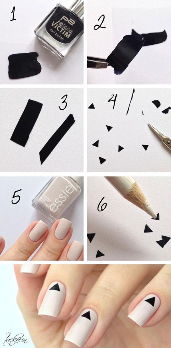 Μίνιμαλ σχέδιο νυχιών με τριγωνάκια