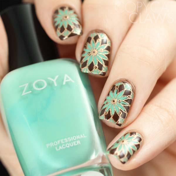 Floral bohemian nails