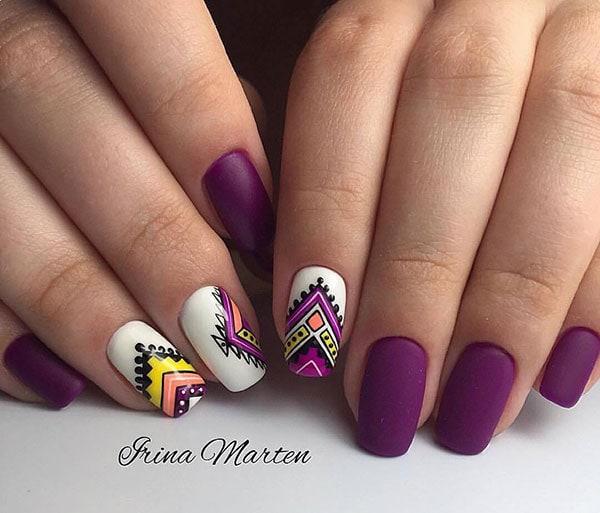 Μωβ boho nails