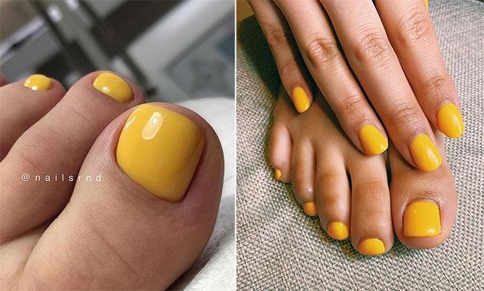 Νύχια ποδιών σε κίτρινες αποχρώσεις