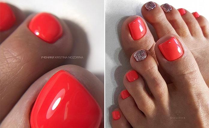 Κοραλί χρώματα στα νύχια ποδιών