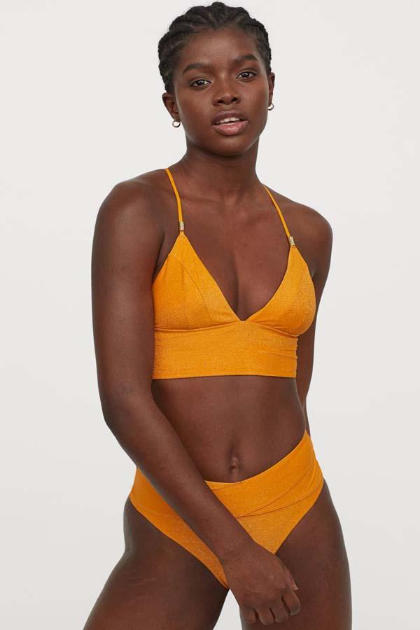 Κίτρινο μεταλλιζέ μπικίνι μαγιό με μπουστάκι και ψηλόμεσο σλιπ - H&M