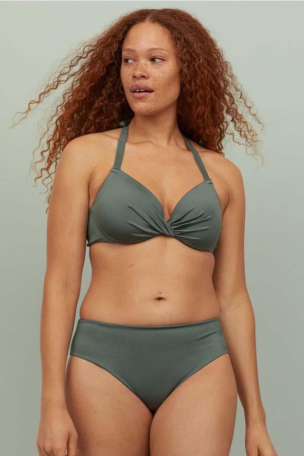 Χακί μαγιό bikini με σουτιέν που δένει στο λαιμό και ψηλόμεσο σλιπ - H&M